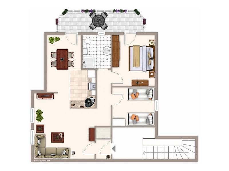 3 zimmer ferienwohnung 39 weiss 39 haus emily in wustrow. Black Bedroom Furniture Sets. Home Design Ideas